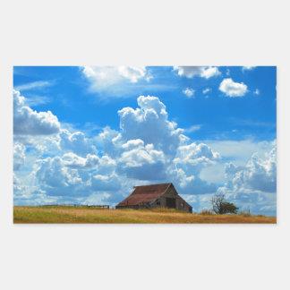 Ladugård och himmel rektangulärt klistermärke
