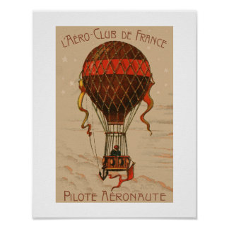L'Aero-Klubb de Frankrike luftballong Poster