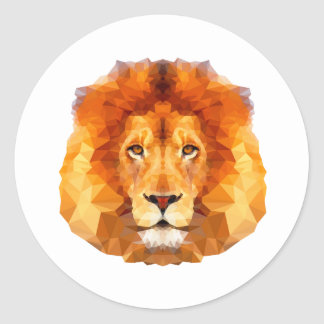 Låg poly design. Lejon illustration Runt Klistermärke