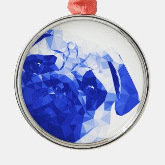 Låg Poly konst för mops i blått Julgransprydnad Metall