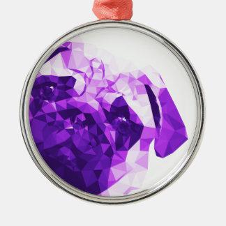 Låg Poly konst för mops i lilor Julgransprydnad Metall