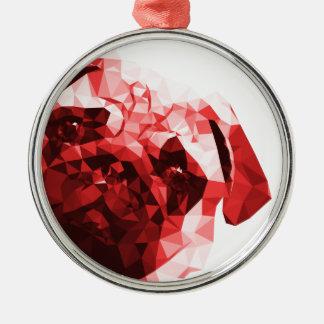 Låg Poly konst för mops i rött Julgransprydnad Metall