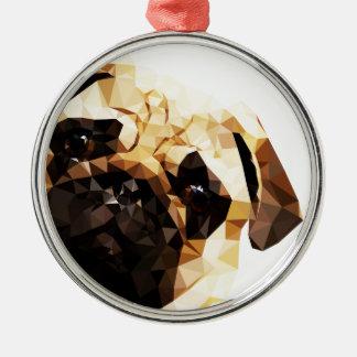 Låg Poly konst för mops Julgransprydnad Metall
