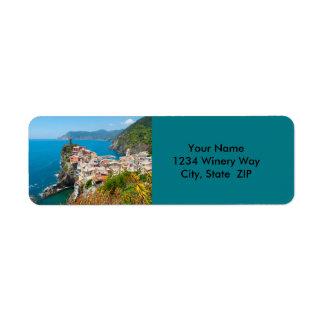 Läge för Cinque Terre italiendestination Returadress Etikett