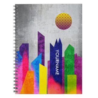 Lägenhet för trendig för sommarnattstad geometrisk anteckningsbok med spiral
