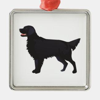 Lägenhet-Jackad Retrieverhund avelnillustration Julgransprydnad Metall
