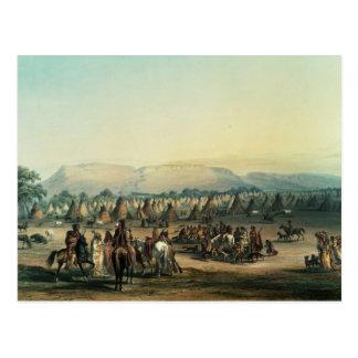 Läger av Piekann indier Vykort