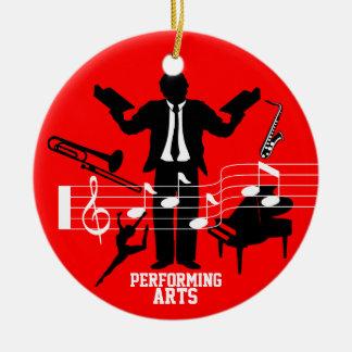 Lägg till bild musikföreställningskonstprydnad julgransprydnad keramik