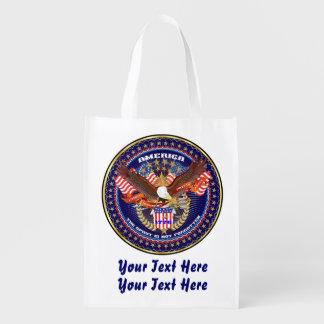 Lägg till bild patriotiska 4th Juli beskådar om Återanvändbar Påse