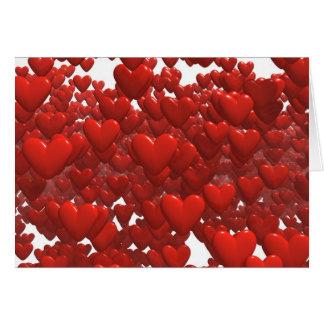 Lagrar av att flyta hjärtor hälsningskort