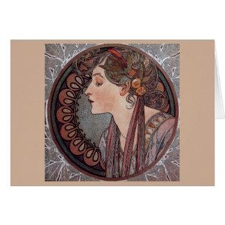 Lagrar för den Alphonse Mucha art nouveaukvinnan Hälsningskort