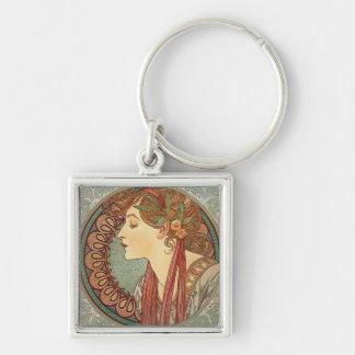 Lagrar vid den konstnärAlphonse Mucha art nouveau Fyrkantig Silverfärgad Nyckelring