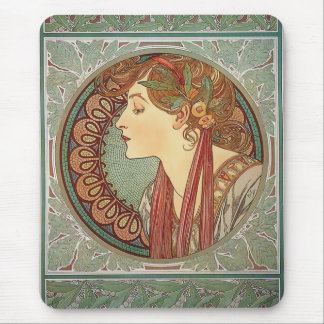 Lagrar vid den konstnärAlphonse Mucha art nouveau Mus Mattor