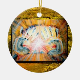 Läka händer & kor av skydd julgransprydnad keramik