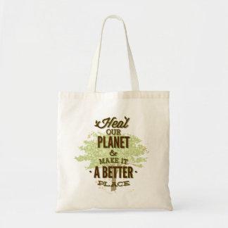 Läka vårt planet budget tygkasse