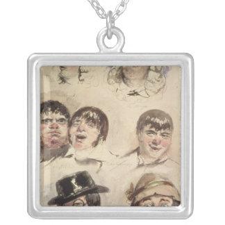 Lakan av studier av sju huvud silverpläterat halsband