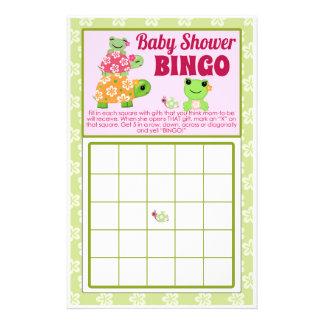 Lakan för BINGO för lek för flickagrodababy shower Reklamblad 14 X 21,5 Cm