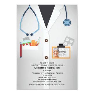 Läkarundersökningen bemannar fotopensioninbjudan 12,7 x 17,8 cm inbjudningskort