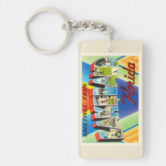 Lakeland Florida FL gammal vintage resorsouvenir Rektangulärt Dubbelsidigt Nyckelring I Akryl