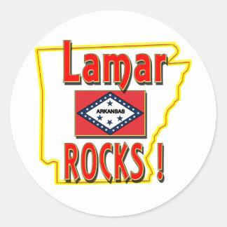 Lamar stenar! (rött) runt klistermärke