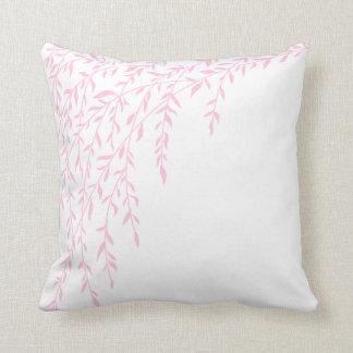 Lämnar rosa vitgren för tårpilen träd kudde