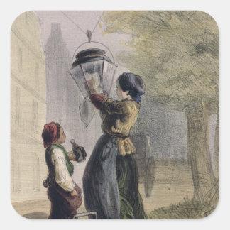 Lamplighteren, från 'Les Femmes de Paris Fyrkantigt Klistermärke