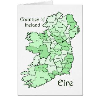 Län av den Irland kartan Hälsningskort