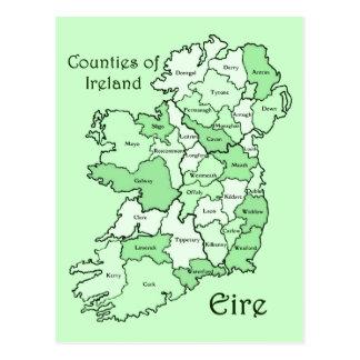 Län av den Irland kartan Vykort
