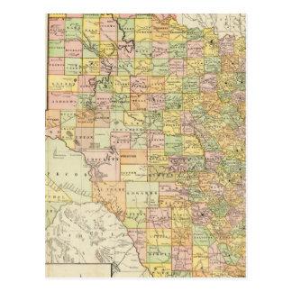 Län för stort fjäll och järnvägkarta av Texas Vykort
