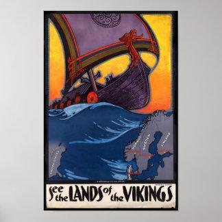 Land av den Vikings vintage affisch