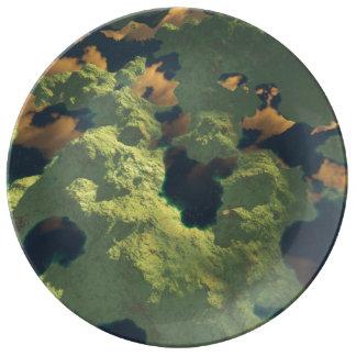 Land av tusen sjöar tallrikar av porslin
