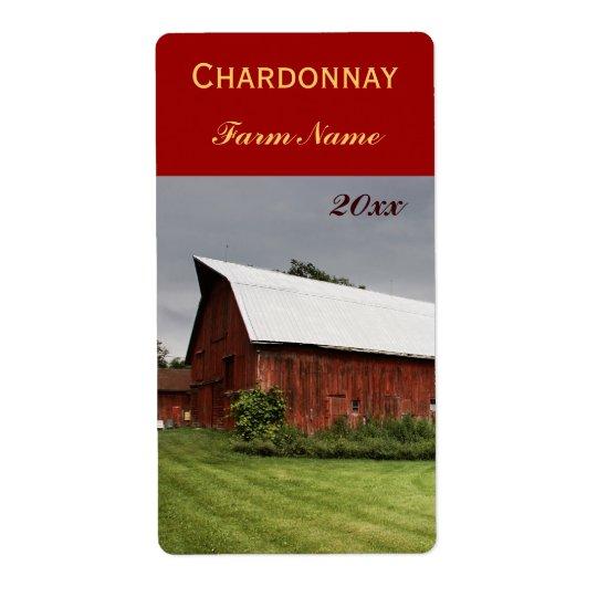 Land landskap med den röda etiketten för ladugårdv fraktsedel