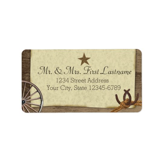 LandBarnwood westerna antikviteter Adressetikett