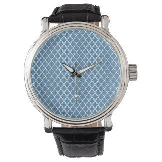 Landblåttspaljé marockanska Preppy Quatrefoil Armbandsur