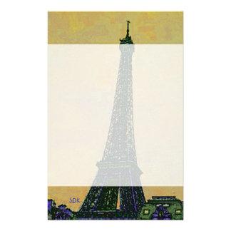 Landmark för Eiffel tornParis frankriken som Brevpapper
