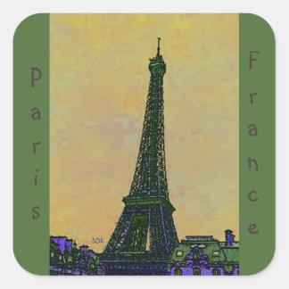 Landmark för Eiffel tornParis frankriken som Fyrkantigt Klistermärke