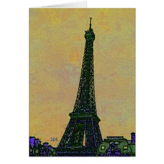 Landmark för Eiffel tornParis frankriken som Hälsningskort