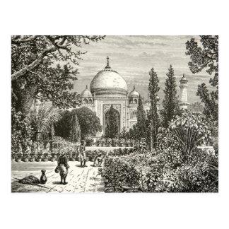 Landmark för Taj Mahal trädgårds- Agra Indien Vykort