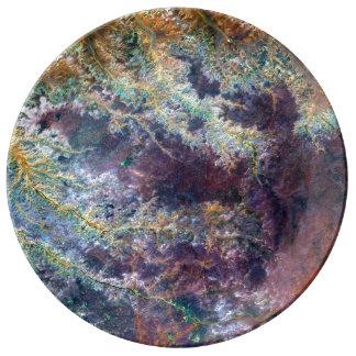 Landsat 7 Ghadamis flod Porslin Tallrikar