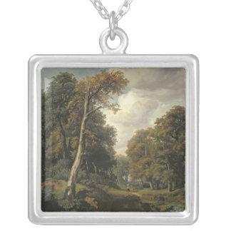 Landskap 1850 silverpläterat halsband