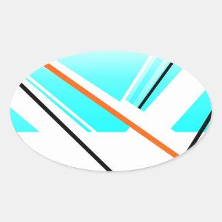 Landskap den abstrakt hamnminimalisten för bris ovalt klistermärke