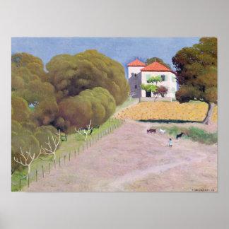 Landskap huset med det röda tak, 1924 poster