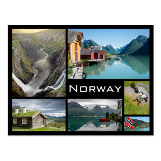 Landskap i vykort för norgesvartcollage
