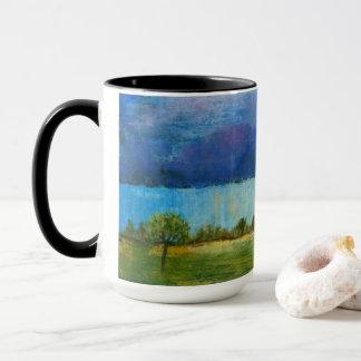 Landskap konstmålninghuset regnar stormmoln mugg