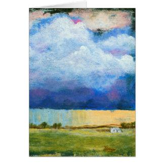 Landskap konstmålninghuset regnar stormmoln OBS kort