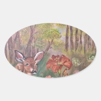 landskap målar målning räcker konstnaturen ovalt klistermärke