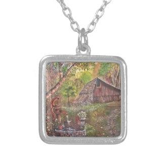 landskap målar målning räcker konstnaturen silverpläterat halsband