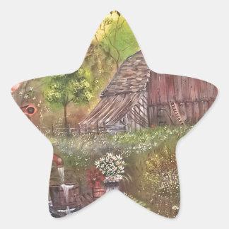 landskap målar målning räcker konstnaturen stjärnformat klistermärke