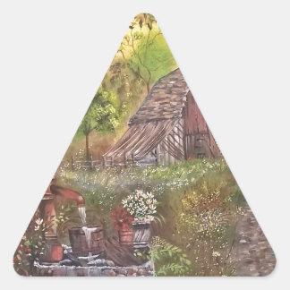 landskap målar målning räcker konstnaturen triangelformat klistermärke