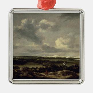 Landskap med dyner nära Haarlem (olja på kanfas) Julgransprydnad Metall